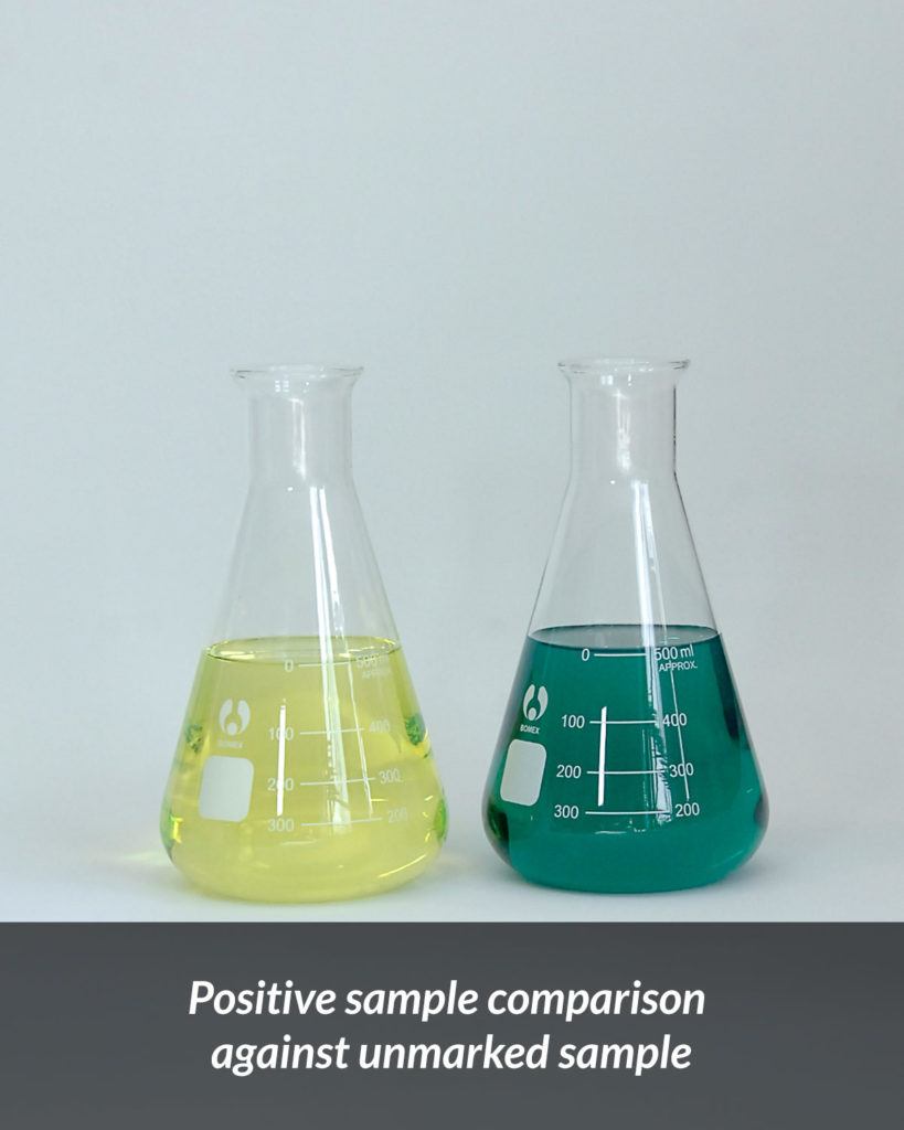 Positive sample comparison against unmarked sample